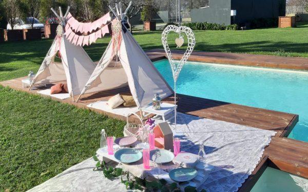 fiesta picnic en la piscina Comunión