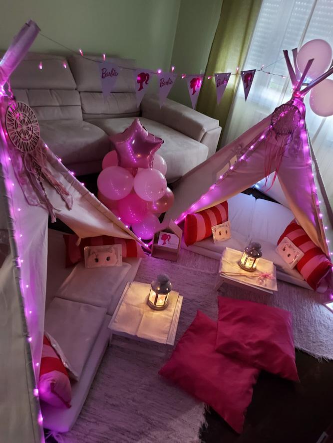Fiesta 8 Cumpleaños de Alejandra, Fiesta Tipi de Barbie.
