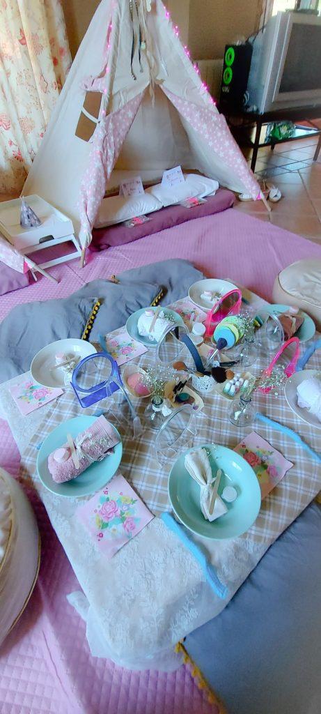 Fiesta de Cumpleaños con Spa y Tipis para María