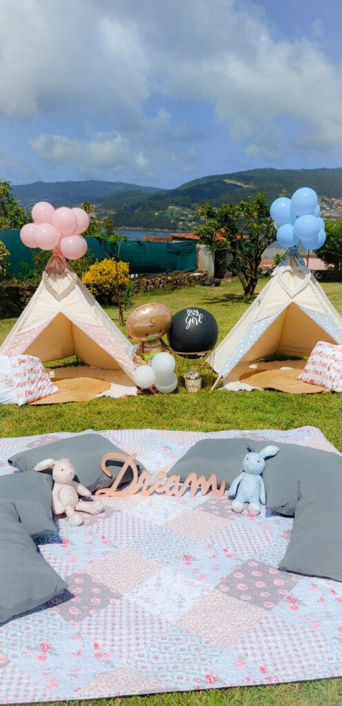 Fiesta Baby Shower con Tipis en el jardin